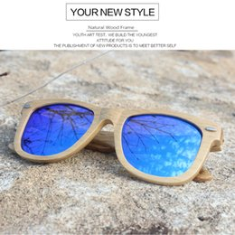 Hinged Mirrors NZ - Wholesale Wood Sunglasses Polarized for Women Men Mirror Sun Glasses with Metal Spring Hinge Shades Gafas De Sol 20PCS