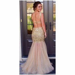 Robe De Soirée Courte Robe De Sirène Pas Cher-2017 NOUVEAU Crystal Gold Tulle Long Robes de soirée Sexy Backless Sequin Bodice Mermaid Formal Prom Party Gowns 432