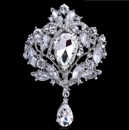 pins big Canada - Big Crystal Waterdrop Top Quality Silver Tone Drop Brooch Pin Exquisite Diamante Wedding Jewelry Brooch Large Crystal Women Bridal Broach