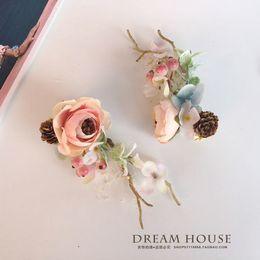Woman Headdress Hair Mori Bride Flower Fairy Wedding Dress Lace Head Clip Accessories Photo Album Antlers