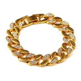 Wholesale New Mens Bracelets Bling Rhinestone Gold Necklace & Bracelet Set Hip Hop Fashion Jewelry