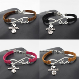 Discount volleyball bracelets - Wholesale- New Sport Punk Antique Silver I Love Baseball Soccer Basketball Volleyball Football Charm Pendant Infinity Lo