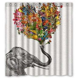 Newspaper Elephant Aztec Floral Fans Custom Printed Size 66x72 Inches 100 Waterproof Polyester Shower Curtain