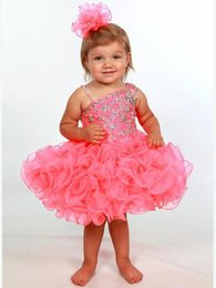 $enCountryForm.capitalKeyWord NZ - Toddler Baby Pageant Dresses 2017 with One Shoulder and Short Ruffled Cupcake Skirt Pink Girls Cupcake Pageant Dress Custom Made