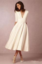 $enCountryForm.capitalKeyWord NZ - White Ivory Short Wedding Dresses Cheap 2019 New Hot Sales Deep Neckline A-Line Satin Half Sleeve Tea Length Bridal Gowns Custom Made W1511