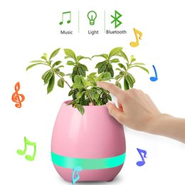 funny office gadgets NZ - 2017 New Funny Cool Gadget Smart Bluetooth Speaker Music flower pot touch swift with night LED light Music Flower Pots for Home Office