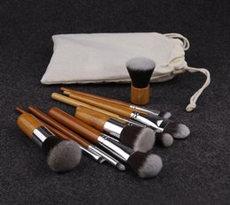 Chinese  Makeup Brushes Set Cosmetics Maquiagem Profissional 11 Pcs High Quality Bamboo Cosmetic Brushes Kit Brush with Draw String bag manufacturers