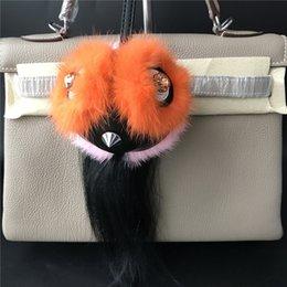 cdad73b74d21 Оранжевый розовый -подлинная реальный мех сова птица сумка ошибка  очарование монстр Кристалл глаза меха мяч помпон очарование брелок