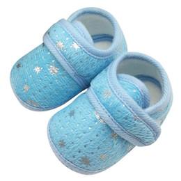 $enCountryForm.capitalKeyWord UK - Wholesale- Cute Infant Bay Boys Girls Solid Shoes Cotton Crib Shoes Star Print Prewalker First Walker