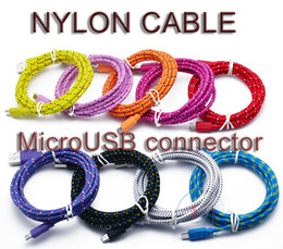 Pink Nylon Cord Canada - Good quality 3FT 6FT 10FT Nylon Woven Cords Micro USB Fiber Fabric Braided Data Charger Cable Cord For Smartphone Cell Phone iPhone