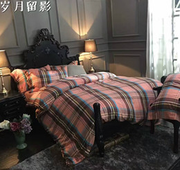 $enCountryForm.capitalKeyWord Canada - cotton yarn-dyed flannelette fabric bedding set hometextile buttons opening queen and king size four pieces per set strip designs 160003