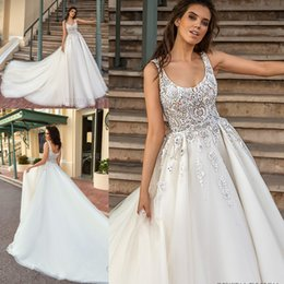 simple church wedding dresses 2019 - Church Backless A-line Wedding Dresses New Arabic Major Beading Backless Court Train Sleeveless Elegant Garden Bridal Go