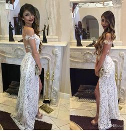 Barato Fadas De Vestido Branco Sexy-Sexy Full Lace Prom Dresses White Ivory Off Shoulder High Slit Pavimento Comprimento Tulle Formal Evening Party Gowns para mulheres 2017