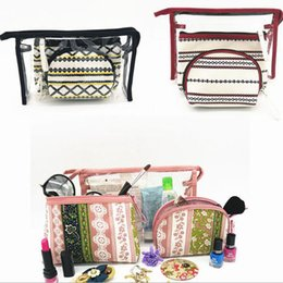 $enCountryForm.capitalKeyWord Canada - Ethnic style cosmetics pouch bag set 3 pieces high quality polyester travel makeup brushes storage bag organizer