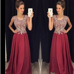 chiffon bateau dress mother bride UK - Bling Bling A Line Mother of the Bride Dresses Bateau Burgundy and Silver Beads Chiffon Formal Evening Gowns Sheer Custom Made Draped