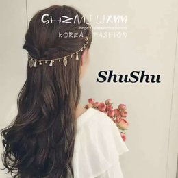 chain hairs NZ - Details about Women Head Chain Head Piece Hollow Leaf Tassel Pendant Headband Hair Accessories