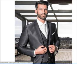 $enCountryForm.capitalKeyWord NZ - Two Buttons Cool Gray Mens Suits Three Pieces Custom Made Slim Fit Tuxedos Side Split High Quality Wedding Tuxedos Mens Blazer.