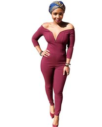 Barato Macacão Para Mulheres Com Gola-Atacado- 2017 Outono V Neck Red One Piece Rompers Womens Jumpsuit Bodycon Plus Size Off Shoulder Sexy Overalls Backless Leotard Ladies