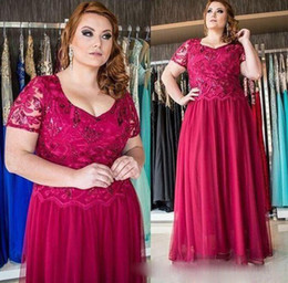 Red Black Lace Mother Bride Dresses NZ - Dark Red 2017 Plus Size Mother Of The Bride Dresses Lace Chiffon V-Neck Cheap Plus Size Mothers Guest Dress For Wedding Party Suits