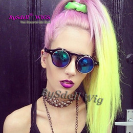$enCountryForm.capitalKeyWord Canada - Long straight hair lace front wig  full lace wig Lady Gaga heat resistant hair beauty pastel purple pink ombre bright yellow color Wigs