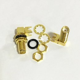 Chinese  20Pcs\Lot Gold Copper Long SMA Adapter PCB Mount SMA Female Jack Right Angle Coaxial RF SMA Connector manufacturers