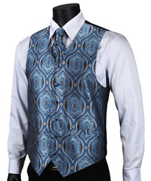 Wedding Waistcoat for men designs online shopping - VE16 Navy Blue Paisley Top Design Wedding Men Silk Waistcoat Vest Pocket Square Cufflinks Cravat Set for Suit Tuxedo