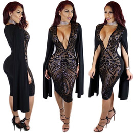 Wholesale stretchy bodycon dress sexy resale online – Choker Sequin Body Con Dress Sexy Deep V Neck Glam Sparkly Sequined Party Dress Sexy Stretchy Beaded Black Sequin Cape Midi Dress