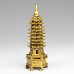 Discount cutting paper art - Chinois tibet bouddhisme temple en laiton Wenchang Tour chedi stupa Pagode statue décoration en métal artisanat