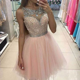 Short Tull Pas Cher-Sparkly Light Pink Tull Homecoming Robes Scoop Beading Crystals Sequins Une ligne Short Prom Party Robes 2017 Robe de cocktail