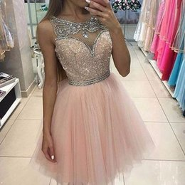 Barato Vestido Rosa Tull-Sparkly Light Pink Tull Homecoming Vestidos Scoop Beading Crystals Sequins Uma linha Short Prom Party Dresses 2017 Cocktail Dress