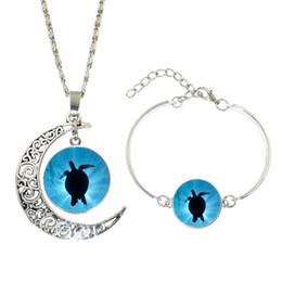 Wholesale Pendant Sets NZ - New 5Set Glass Cabochon Jewelry Sets Sea Turtle Art Picture Silver Chain Crescent Moon Pendant Necklace Bracelet Set For Women Gift