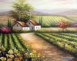 Family Frames Canada - Framed Italian Vineyard Family Home Purple Grapes On Vine,Hand-painted Art oil painting Thick Canvas,Multi size Available Free Shipping J002