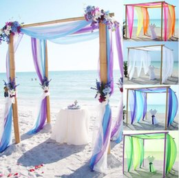 Barato Arcos De Swag De Mesa De Casamento-500CM * 135CM Sheer Organza Multi Use Wedding Chair Sash Bow Table Runner Swag Decorações Colorful Free Shipping