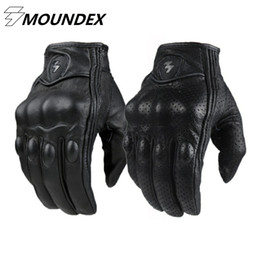 Leather Motorcycle Gloves Wholesale NZ - Wholesale- Motorcycle Gloves Goatskin Leather Real Genuine Cycling All Season Moto Glove Men Racing Motorbike Guantes Luvas