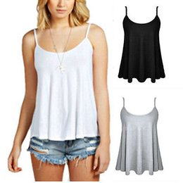 Chaleco Sin Mangas De Swing Baratos-Venta al por mayor- Womens Ladies Plain Swing chaleco sin mangas Top Strappy Cami Plus Tamaño Flared Mujeres Sexy Tanks