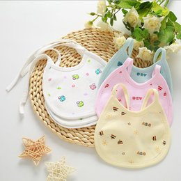 Attacher Une Fille Pas Cher-50Pcs / Set Unisex Baby Girl Boy Bavettes Cartoon Baby Coton Tie-up Bavettes Toddler Burp Tissus Feeding Care