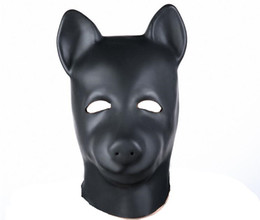 Hot Dog Mask Canada - Hot Sex product New male female Soft latex bondage dog head Mask Headgear Hood Adult BDSM toys game set