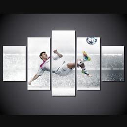 $enCountryForm.capitalKeyWord UK - 5 Pcs Set Framed HD Printed Messi Football Star Picture Wall Art Canvas Print Room Decor Poster Canvas Painting Pop Art