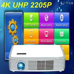 Proyector Wifi Australia - Wholesale-4K Chip Real 3D DLP LED Android 4.4 WiFi Smart Projector with Bluetooth 4.0 Miracast Wireless Display 2205P Proyector Beamer