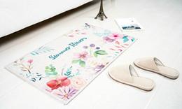 Carpet liner online shopping - Cotton liner blended carpet rugs SBR Neoprene material anti skiding mat tropical monstera flower printed mat
