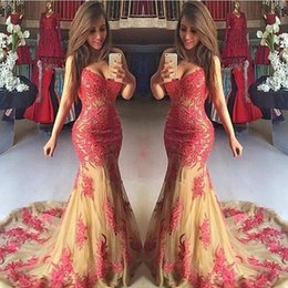 Barato Belo Vermelho Vestidos À Noite-Beautiful Red Lace Appliques Vestidos de baile Mermaid Sweetheart Spaghetti Straps Sexy Backless Long Evening Party Vestidos 2017