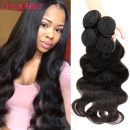 Discount peruvian remy hair styles - Glary New Fashion Style Human Hair Bundles Brazilian Body Wave Hair Weeaves Double Wft Unprocessed Hair Extensions 4 Bun