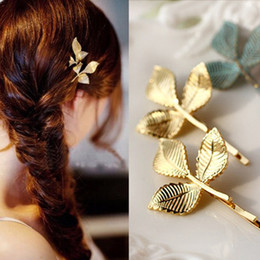 Simple handmade hair acceSSorieS online shopping - Gold Flower Leaves Handmade Baroque Wedding Hair Pins Wedding Hair Jewelry Simple Gold Plating Leaves Hairpins For Women Hair Accessories