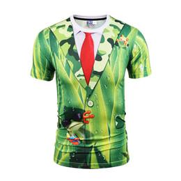 Frog T Shirts UK - men t shirts for men T-shirt 3d designer shirts tie green frog print Fake two piece short sleeve BL-035