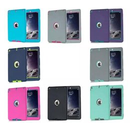 Wholesale 3 in Defender Robot Heavy Duty Shockproof Silicone TPU Hard PC Cover Case For New iPad Pro Air Air2 Mini Mini4 DHL Free