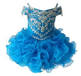 $enCountryForm.capitalKeyWord UK - Gorgeous Diamond Glitz Girls Natioanl Pageant Cupcake Dresses Infant Tutu Gowns Toddler Baby Girls Ruffled Mini Pageant Dress