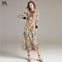 Barato Vestidos De Contas Frouxas-New Arrival 2017 Women's Turn Down Collar Beaded Bow Long Sleeves Floral Printed Elegante Loose Design Runway Dresses