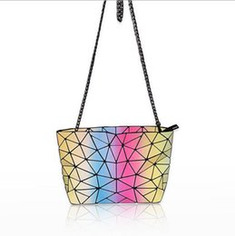 rainbow handbags Canada - 2017 New Arrival Fluorescent color Rainbow Travel Shoulder Cosmetic Bag fashion PU leather womens bags high quality luxury designer handbag