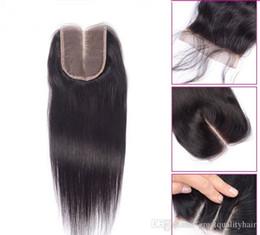 Bulk Hair Dye NZ - Straight Hair Extensions Natural Color Brazilian Indian Peruvian Malaysian Human Virgin Remy Hair 4*4 Closure Top Closures Can Be Dyed
