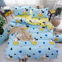 Cute Cartoon Cow Bedding Set Blue Duvet Cover Bed Set Single Double Queen  King Size Bed Sheets Bedclothes Sale